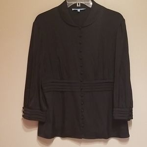 Antonio Melani black silk button blouse